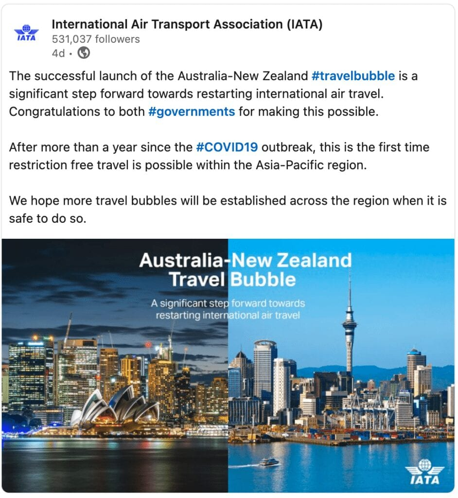 Australia/New Zealand has first travel bubble in Asia-Pacific region